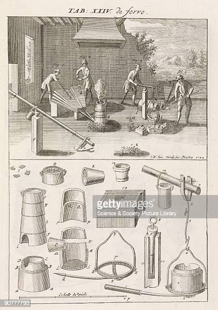 Engraving showing 'the ordinary furnace in which cast iron is melted by charging it together with charcoal without placing it in a special crucible'...