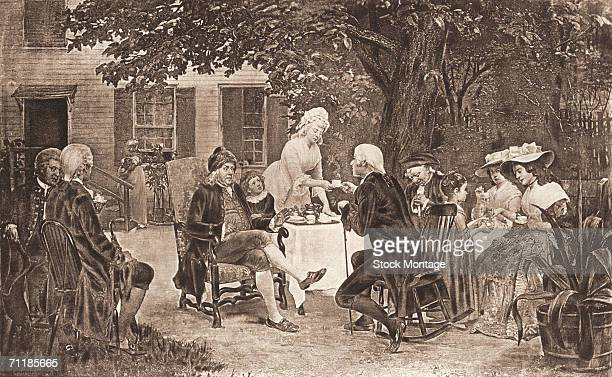 Engraving shows American statesman and inventor Benjamin Franklin as he relaxes in the garden of his home 1700s