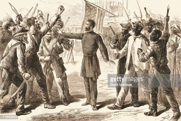 Engraving shows an agent from the Freedmen's Bureau as he separates two groups of armed men one comprised of white men and the other of freed slaves...