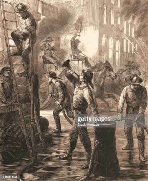 Engraving shows firefighters as they battle a buring building during the Great Chicago Fire, which destroyed a large portion of the city, Chicago,...