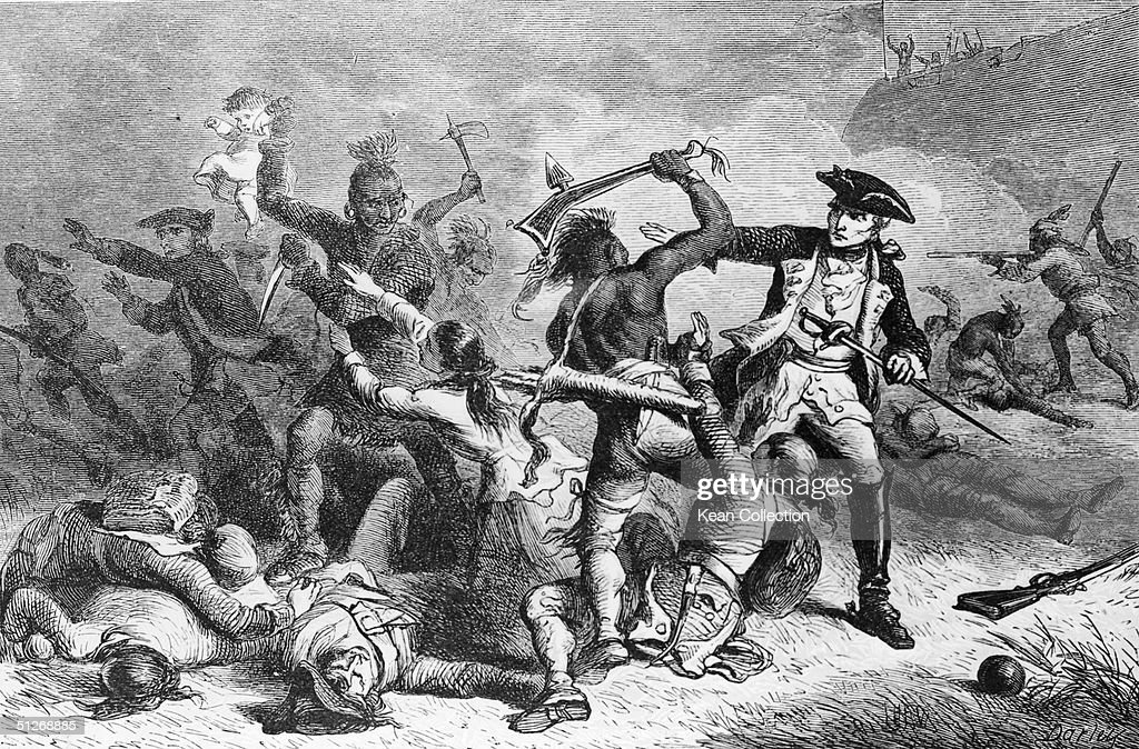 Engraving shows French general Marquis Louis Montcalm (1712 - 1759) as he attempts to prevent Indians allied to the French from massacring unarmed British soldiers and their families during their withdrawal from Fort William Henry on Lake George in New York during the Franch & Indian War, August 10, 1757. While the story of the slaughter was widely circulated at the time with upwards of 1,500 unarmed persons reported killed it is more likely that no such massacre took place and most of the few hundred killed died in battle before the surrender.
