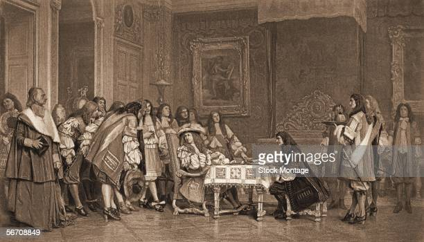 Engraving shows King Louis XIV of France a patron of the arts as he dines with French writer Moliere while his court watches France mid 1600s