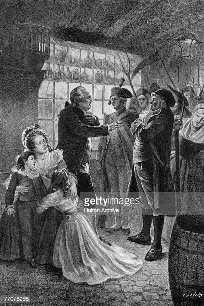 Engraving shows King Louis XVI of France known as Citizen Louis Capet after the French Revolution as he is confronted by a mob of revolutionaries...