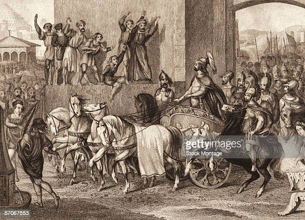 Engraving shows Macedonia King Alexander the Great in a chariot at the head of his army as they triumphantly enter the city of Babylon, 331 B.C.