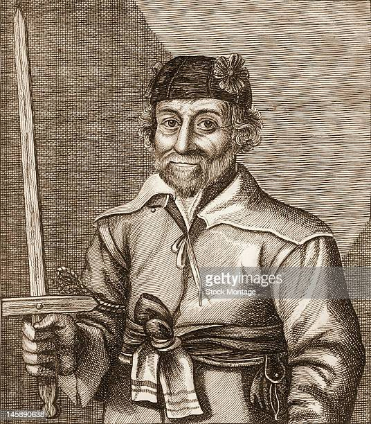 Engraving shows Nat Witt as he holds a wooden sword 17th century Witt a possibly ficticious charactor is referenced in James Caulfield's 1813 book...