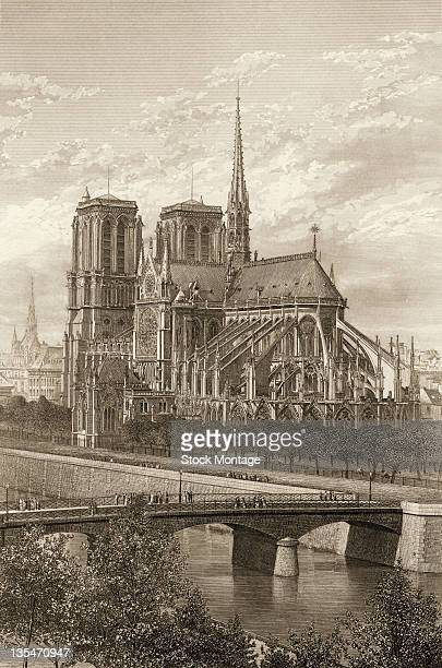 Engraving shows Notre-Dame Cathedral and the Seine River, Paris, France, late 1870s.