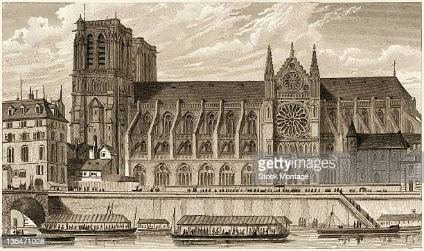Engraving shows Notre-Dame Cathedral and the Seine River, Paris, France, late 1820s.