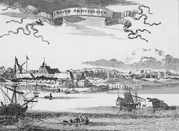 Engraving shows sailing ships and activity along the waterfront of the early settlement of New York shortly after it was seized by the English from...