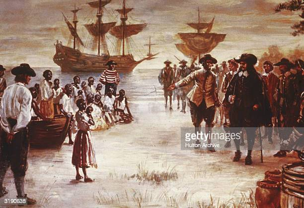 Engraving shows the arrival of a Dutch slave ship with a group of African slaves for sale, Jamestown, Virginia, 1619.