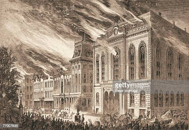 Engraving shows the Chicago Chamber of Commerce building on fire as people stream past it to escape the flames, Chicago, Illinois, October 9, 1871.