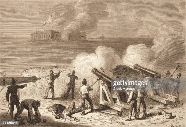 Engraving shows the Confederate bombardment of Fort Sumter Charleston harbor South Carolina April 12 1861 The attack marked the beginning of the US...