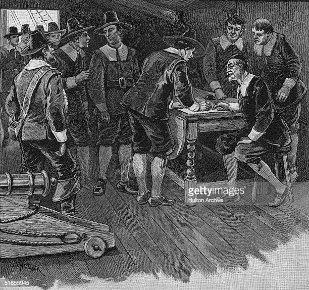 Engraving shows the Dutch burghers of New Amsterdam on a ship as they sign the compact of capitulation with the English and thereby surrender the...