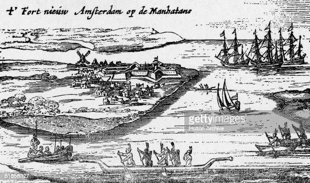 Engraving shows the earliest view of what will someday be Lower Manhattan in New York City and includes several groups of Indians paddling canoes...