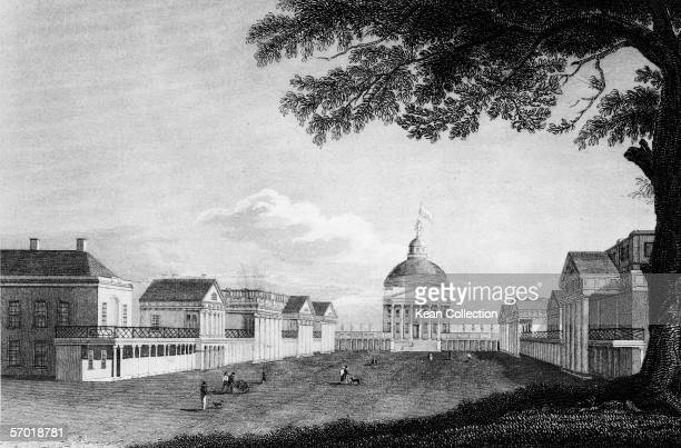 Engraving shows the main lawn and quadrangle of the campus of the University of Virginia Charlottesville Virginia circa 1830s The Thomas...