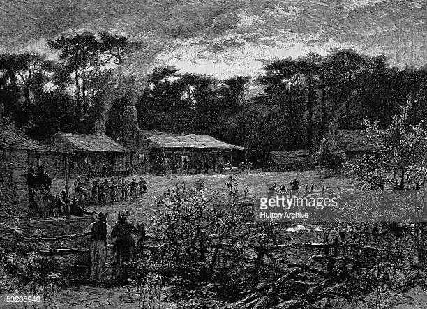 Engraving shows the slaves' quarters of a large plantation and the inhabitants forced to live therein as evening descends on their bondage Southern...