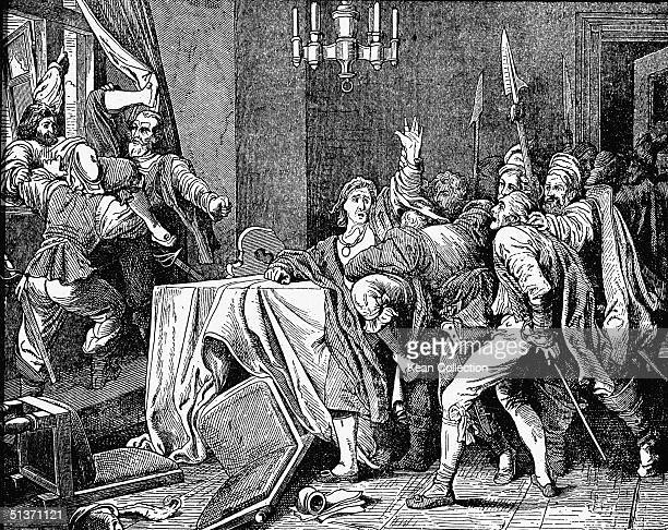 Engraving shows the socalled 'Second Defenestration of Prague' when enraged local rebels threw two Imperial governors Jaroslav von Martinitz and...