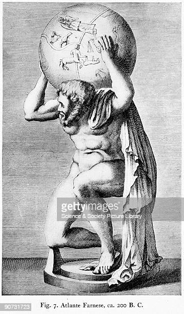 Engraving taken from 'Terrestrial Celestial Globes' by E L Stevenson published by Yale University Press The engraving shows the Farnese Atlas a stone...