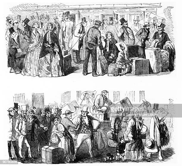 Engraving taken from the �Illustrated London News� A comic depiction of disgruntled passengers at a station struggling with their luggage during a...