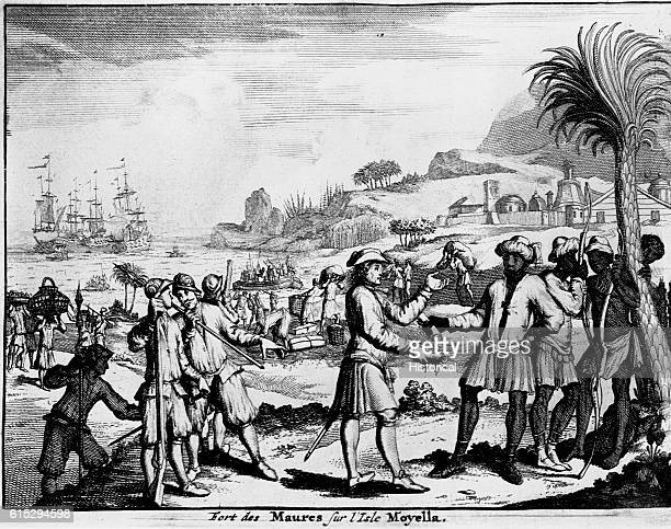 Engraving that depicts slave trading activity at Fort des Maures on Moyella Island West Africa in the late18th century