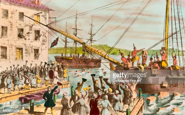 colonists refusing to pay Tea Taxes and throw the Goods to the sea in the Port of Boston 1773 Private Collection