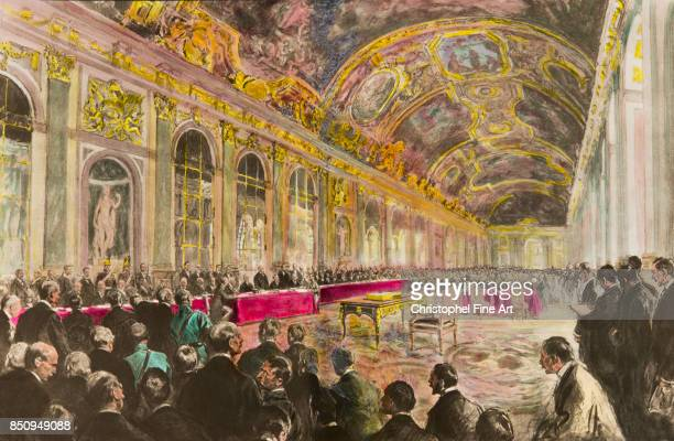 Engraving The Versailles Conference in the Hall of Mirrors of the Palace of Versailles June 28th 1919 President Clemenceau opens the session Private...
