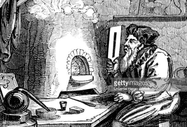 Engraving titled 'An Alchemist' which is possibly Basil Valentine an alchemist author and possibly Canon of the Benedictine Priory of Saint Peter in...