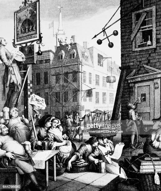 Engraving titled 'Beer Street' by William Hogarth depicting the evils of unbridled drinking of spirits Dated 18th Century