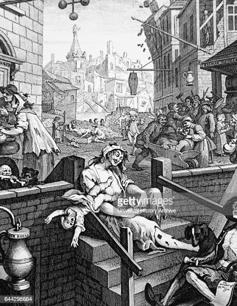 Engraving titled 'Gin Lane' by William Hogarth depicting the evils of unbridled drinking of spirits Dated 18th Century