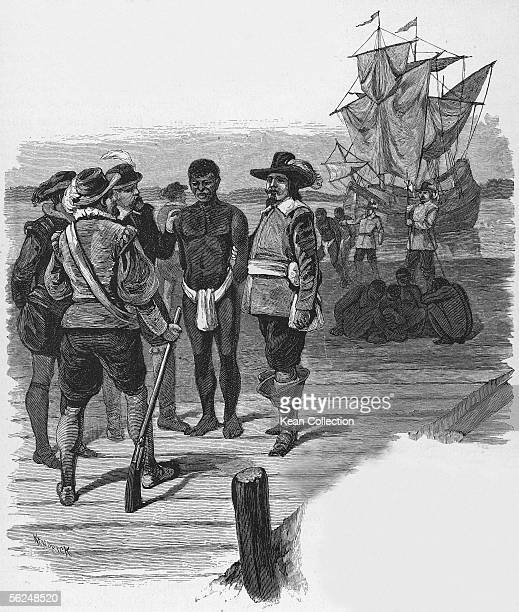 Engraving titled 'Introduction of Slavery' shows a group of welldressed men as they stand on a dock and examine a slave dressed in a loincloth...
