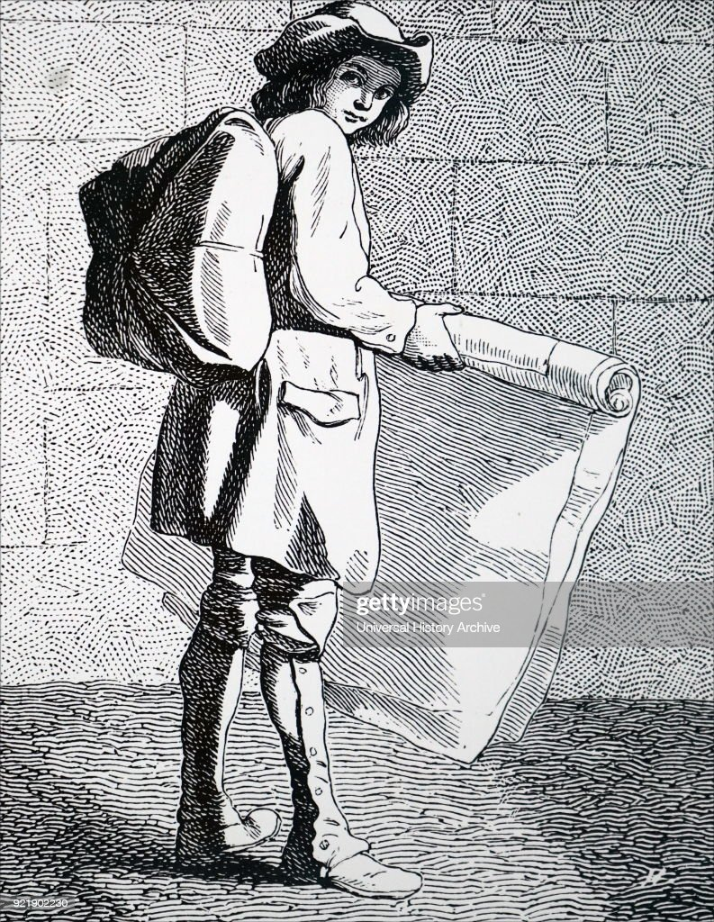 Engraving titled 'The Print Seller'. Dated 18th century.