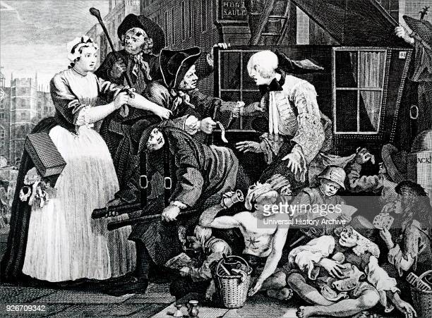 Engraving titled 'The Rake's Progress' by William Hogarth The Rake is being arrested in sight of St James's Palace while young boys sit gaming on the...
