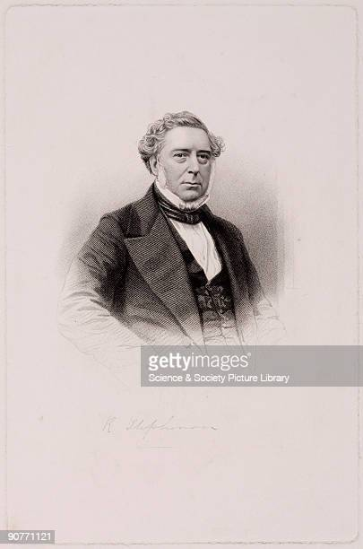 Engraving with signature of Robert Stephenson English engineer and the son of George Stephenson whom he assisted with the survey of the Stockton...