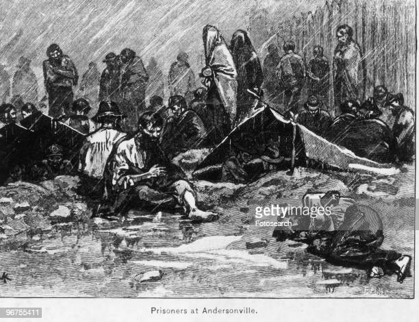 Engraving with the caption 'Prisoners in Andersonville Stockade' depicting prisoners at the Andersonville Civil War Prison Camp also known as Camp...