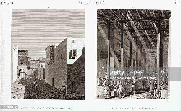 Engravings by Reville after Protain and Cecile showing a street leading to the old port and the Grand Bazaar On the right a European soldier is...