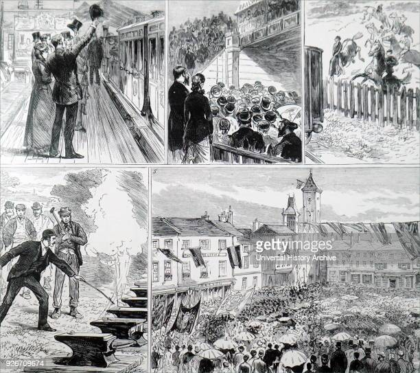 Engravings depicting the opening of Newbury and Didcot railway 1 First train arriving at Didcot 2 Declaring the line open 3 Racehorses on the downs...