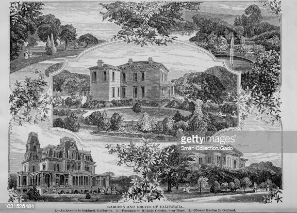 Engravings of the gardens and groves of California Avenue in Oakland Hillside Garden fountain and Oakland flower garden from the book 'The Pacific...