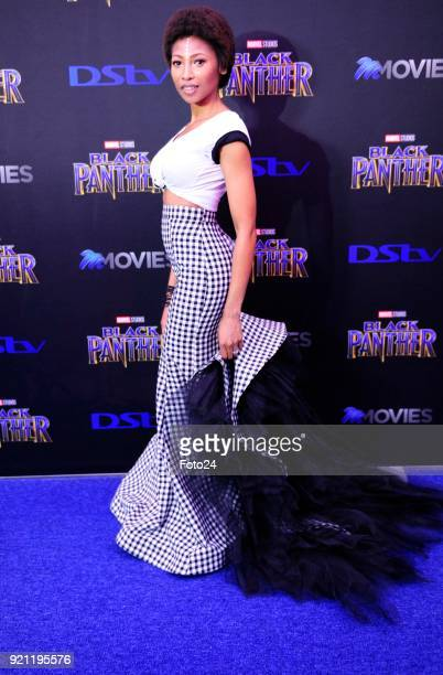 Enhle Mbali MlotshwaMaphumulo during the Black Panther movie premiere at Montecasino on February 16 2018 in Fourways South Africa Your culture in...