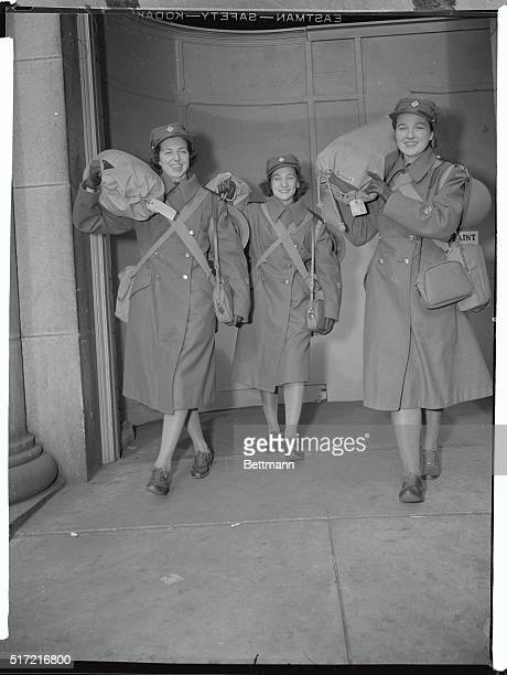 Enid Clark Van Couver Jacqueline Mineau Ottawa and Mary Roberta Fowler Ottawa three members of the Canadian Women's Army Corps who will perform...