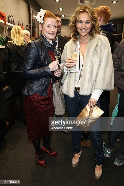 Enie van de Meiklokjes and Caroline Beil attend the 'Le Tanneur' store opening at Quartier 207 on October 25 2012 in Berlin Germany