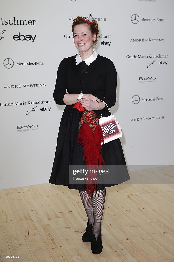 Enie van de Meiklokjes attends the Guido Maria Kretschmer For eBay Collection Launch at Label 2 on April 10, 2013 in Berlin, Germany.