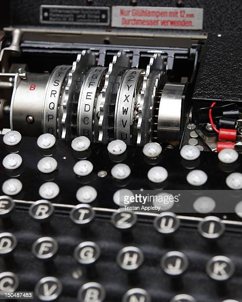 Enigma cipher machine used by Germany during WWII to encrypt and decrypt messages Closeup showing detail of keys lamps and rotors