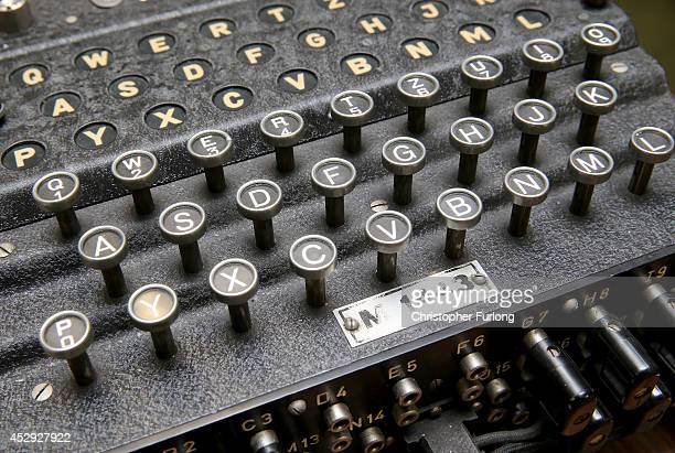 Enigma coding machine on display in the museum at GCHQ Scarborough during a visit by Prince Charles Prince of Wales on July 30 2014 in Scarborough...
