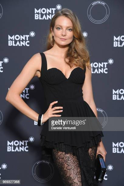 Eniko Mahlik attends the Montblanc dinner hosted by Charlotte Casiraghi for the collection launch 'Les Aimants at Villa La Favorite on May 16 2018 in...