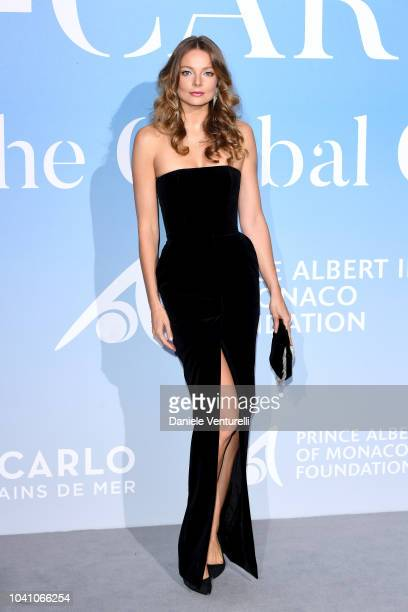 Eniko Mihalik attends the Gala for the Global Ocean hosted by HSH Prince Albert II of Monaco at Opera of MonteCarlo on September 26 2018 in...