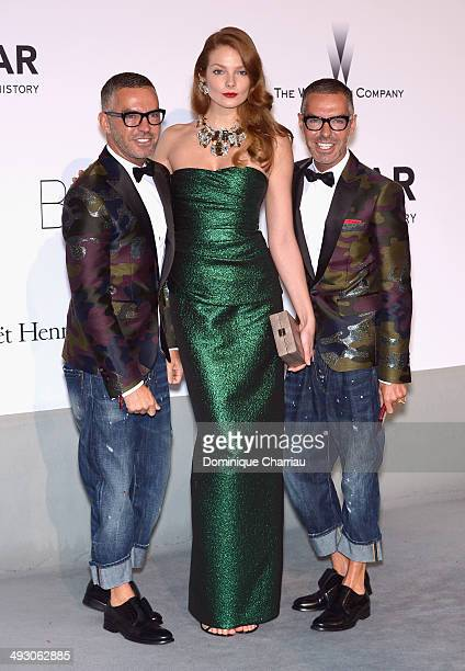 Eniko Mihalik Dan Caten and Dean Caten attend amfAR's 21st Cinema Against AIDS Gala Presented By WORLDVIEW BOLD FILMS And BVLGARI at Hotel du...