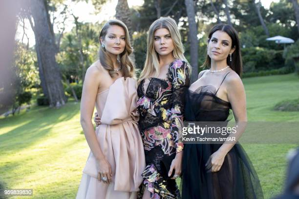 Eniko Mihalik Maryna Linchuk and Julia Restoin Roitfeld attend the cocktail at the amfAR Gala Cannes 2018 at Hotel du CapEdenRoc on May 17 2018 in...