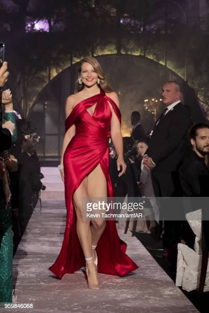 Eniko Mihalik walks the runway during the amfAR Gala Cannes 2018 fashion show at Hotel du CapEdenRoc on May 17 2018 in Cap d'Antibes France
