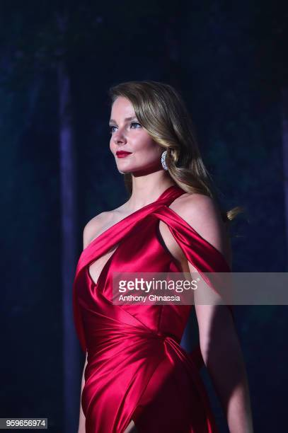 Eniko Mihalik wearing Ralph Russo walks the runway at the amfAR Gala Cannes 2018 at Hotel du CapEdenRoc on May 17 2018 in Cap d'Antibes France