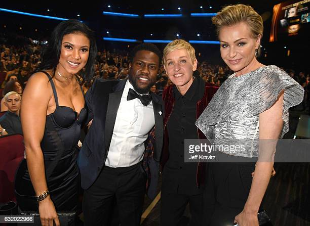 Eniko Parrish, actor Kevin Hart, comedian Ellen DeGeneres, and actress Portia de Rossi attend the People's Choice Awards 2017 at Microsoft Theater on...