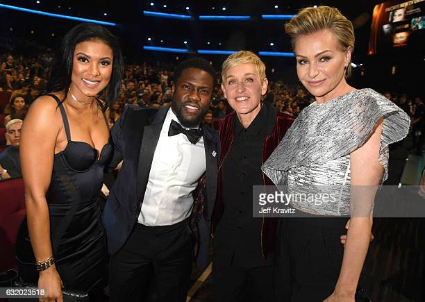 Eniko Parrish actor Kevin Hart comedian Ellen DeGeneres and actress Portia de Rossi attend the People's Choice Awards 2017 at Microsoft Theater on...